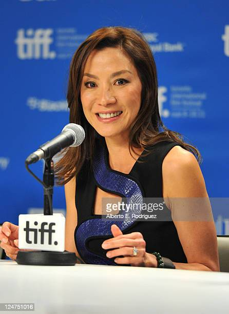 Actress Michelle Yeoh speaks onstage at 'The Lady' press conference during the 2011 Toronto International Film Festival at TIFF Bell Lightbox on...