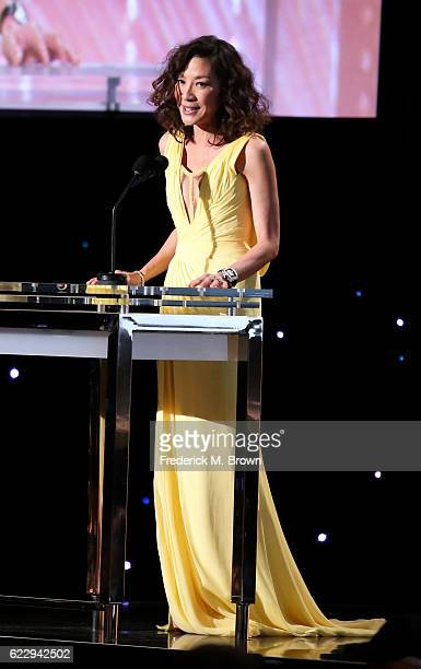 Actress Michelle Yeoh speaks onstage during the Academy of Motion Picture Arts and Sciences' 8th annual Governors Awards at The Ray Dolby Ballroom at...