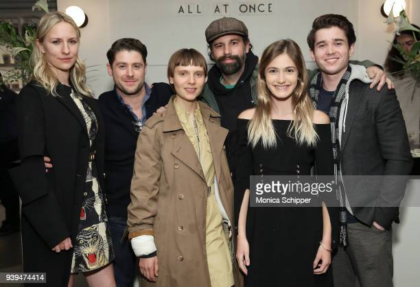 Actress Mickey Sumner actor and director Jon Abrahams and actors Sasha Frolova Giovanni Reda Nicole Elizabeth Berger and Luke Slattery attend the All...