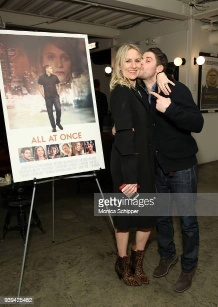Actress Mickey Sumner and actor and director Jon Abrahams attend the All At Once New York Premiere at Metrograph on March 28 2018 in New York City