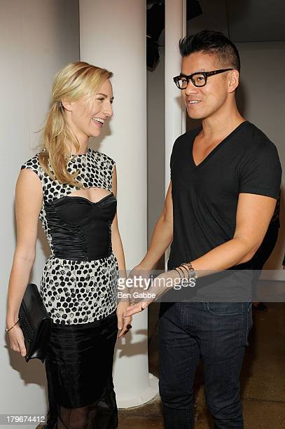 Actress Mickey Sumner and designer Peter Som pose backstage at the Peter Som Spring 2014 fashion show during MercedesBenz Fashion Week at Milk...