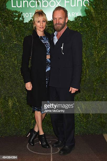 Actress Mickey Sumner and musician Sting attend The Lunchbox Fund Tenth Anniversary Benefit Dinner and Auction at Gabriel Kreuther on October 26 2015...