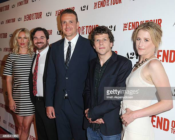 Actress Mickey Sumner director James Ponsoldt actors Jason Segel Jesse Eisenberg and Mamie Gummer attend the premiere of A24's 'The End Of The Tour'...