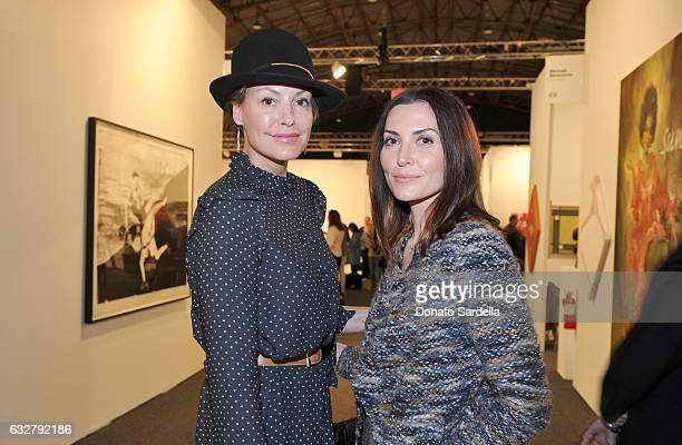 Actress Micky Hoogendijk and Joanna Parol attend the Art Los Angeles Contemporary 2017 opening night at Barker Hangar on January 26 2017 in Santa...