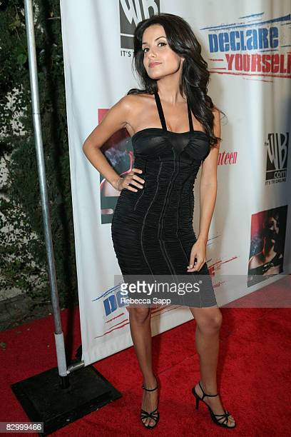 "Actress Mikaela Hoover arrives at Declare Yourself's ""Last Call To Action"" at The Green Door on September 24, 2008 in Los Angeles, California."