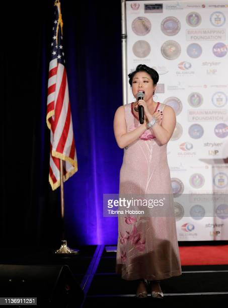 Actress Miki Yamashita performs at the 16th annual 'Gathering for Cure' black tie awards gala of Brain Mapping Foundation on March 16 2019 in Los...