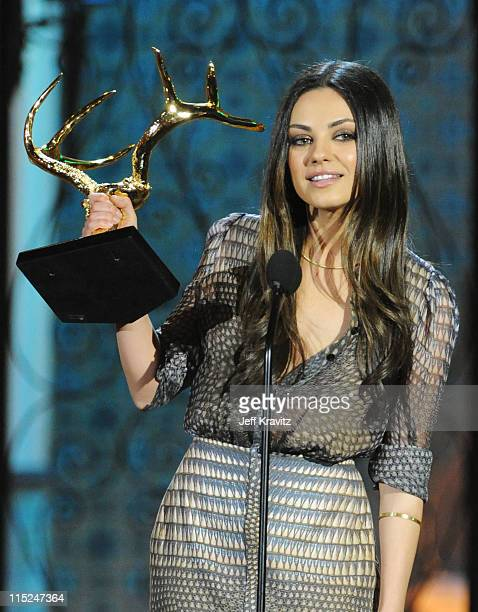 Actress Mila Kunis accepts an award onstage during Spike TV's 5th annual 2011 'Guys Choice' Awards at Sony Pictures Studios on June 4 2011 in Culver...