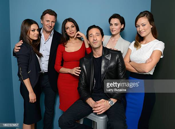 Actress Mila Kunis actor Liam Neeson actress Moran Atias actor Adrien Brody actress Loan Chabanol and actress Olivia Wilde of 'Third Person' pose at...