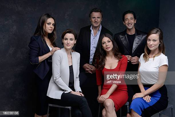 Actress Mila Kunis actress Loan Chabanol actor Liam Neeson actress Moran Atias actor Adrien Brody and actress Olivia Wilde of 'Third Person' pose at...