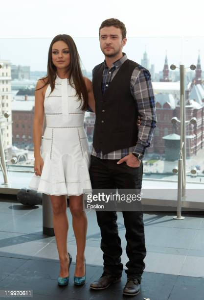 Actress Mila Kunis and actor Justin Timberlake attend a 'Friends With Benefits' photocall in the RitzCarlton on July 27 2011 in Moscow Russia