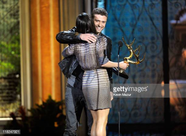 Actress Mila Kunis and actor/singer Justin Timberlake onstage during Spike TV's 5th annual 2011 'Guys Choice' Awards at Sony Pictures Studios on June...