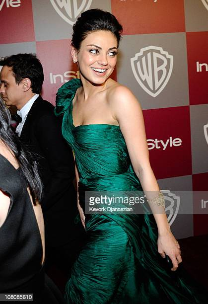 Actress Mila Kunis arrives at the 2011 InStyle And Warner Bros 68th Annual Golden Globe Awards postparty held at The Beverly Hilton hotel on January...