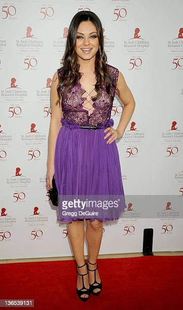 Actress Mila Kunis arrives at the 50th Anniversay Benefit Gala of St Jude Children's Research Hospital at The Beverly Hilton Hotel on January 7 2012...