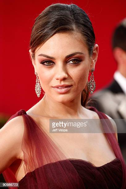 Actress Mila Kunis arrives at the 61st Primetime Emmy Awards held at the Nokia Theatre on September 20 2009 in Los Angeles California