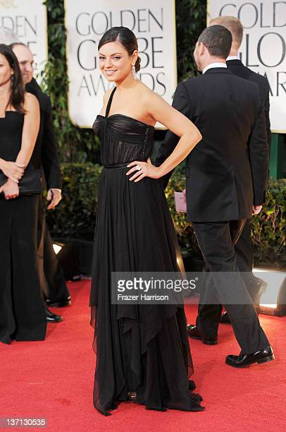 Actress Mila Kunis arrives at the 69th Annual Golden Globe Awards held at the Beverly Hilton Hotel on January 15, 2012 in Beverly Hills, California.