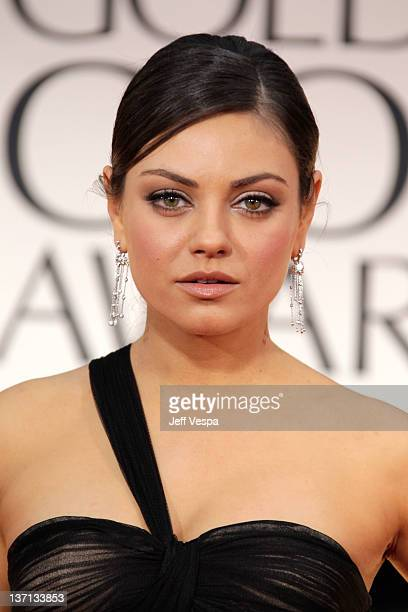 Actress Mila Kunis arrives at the 69th Annual Golden Globe Awards held at the Beverly Hilton Hotel on January 15 2012 in Beverly Hills California