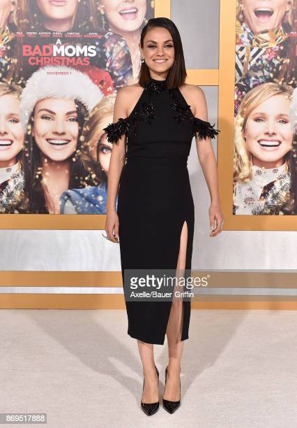 Actress Mila Kunis arrives at the Los Angeles premiere of 'A Bad Moms Christmas' at Regency Village Theatre on October 30 2017 in Westwood California