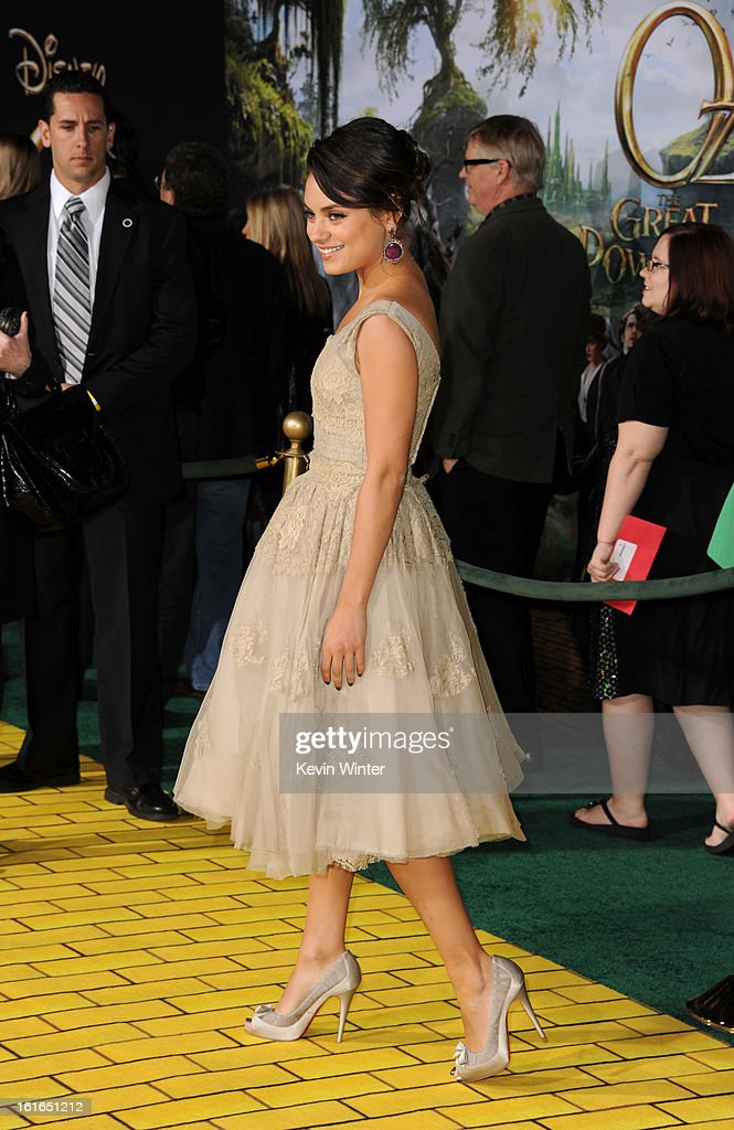 Actress Mila Kunis arrives for the world premiere of Walt Disney Pictures' 'Oz The Great And Powerful' at the El Capitan Theatre on February 13, 2013 in Hollywood, California.