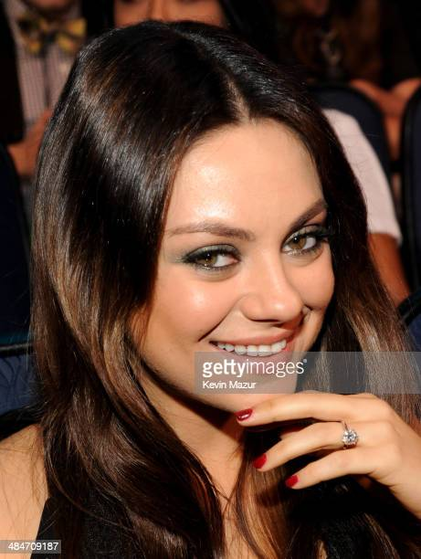 Actress Mila Kunis attends the 2014 MTV Movie Awards at Nokia Theatre LA Live on April 13 2014 in Los Angeles California