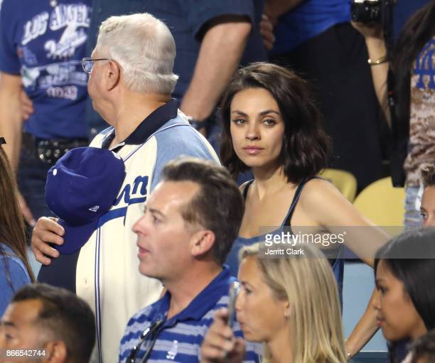 Actress Mila Kunis attends The 2017 World Series Game 2 at Dodger Stadium on October 25 2017 in Los Angeles California