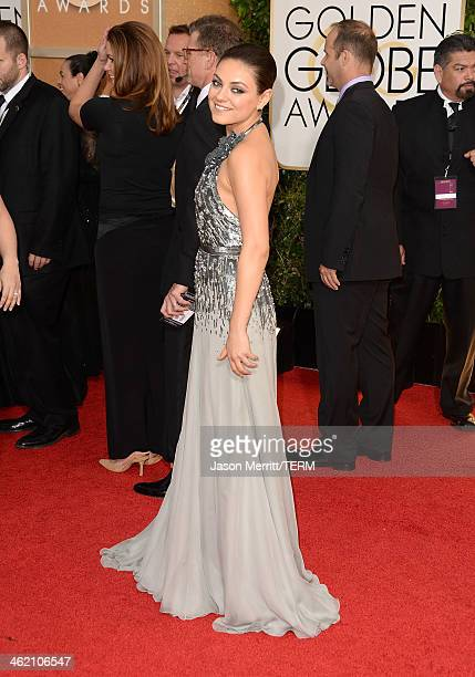 Actress Mila Kunis attends the 71st Annual Golden Globe Awards held at The Beverly Hilton Hotel on January 12 2014 in Beverly Hills California