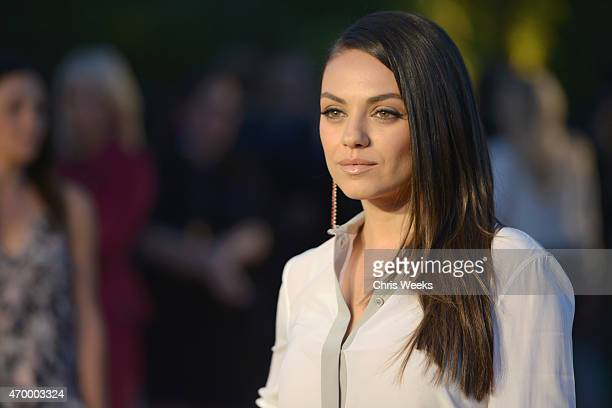 Actress Mila Kunis attends the Burberry London in Los Angeles event at Griffith Observatory on April 16 2015 in Los Angeles California
