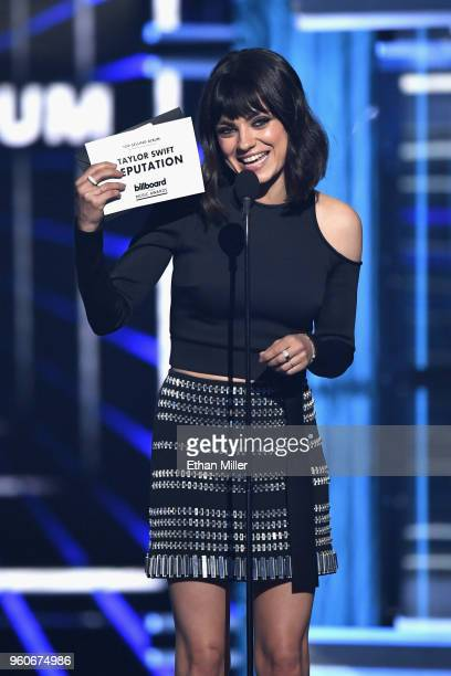 Actor Mila Kunis speaks onstage during the 2018 Billboard Music Awards at MGM Grand Garden Arena on May 20 2018 in Las Vegas Nevada