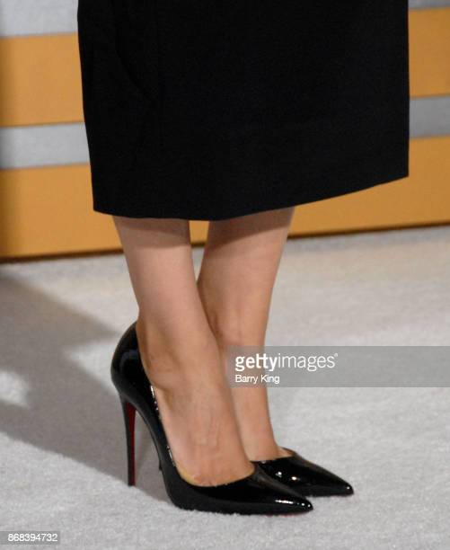 Actress Mila Kunis shoe detail attends the premiere of STX Entertainment's 'A Bad Mom's Christmas' at Regency Village Theatre on October 30 2017 in...