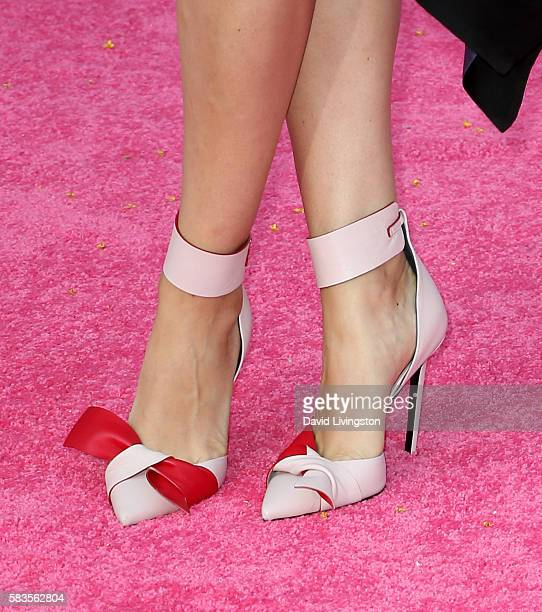 Actress Mila Kunis shoe detail attends the premiere of STX Entertainment's Bad Moms at Mann Village Theatre on July 26 2016 in Westwood California