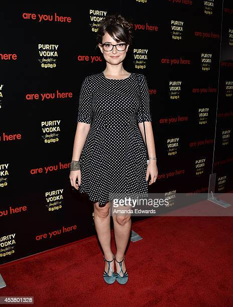 Actress Milana Vayntrub arrives at the Los Angeles premiere of 'Are You Here' at the ArcLight Hollywood on August 18 2014 in Hollywood California