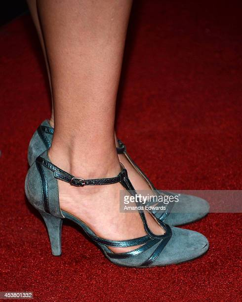 Actress Milana Vayntrub arrives at the Los Angeles premiere of Are You Here at the ArcLight Hollywood on August 18 2014 in Hollywood California