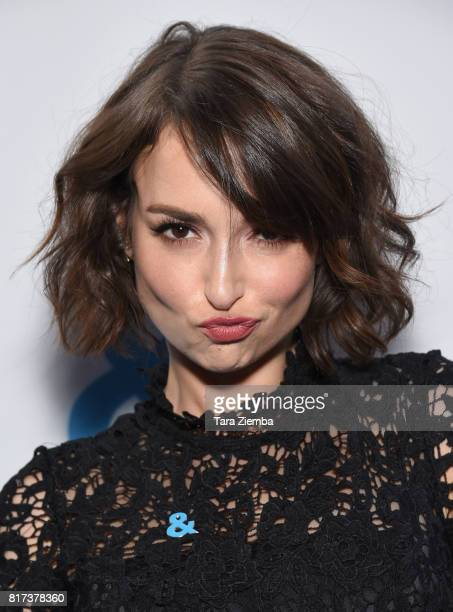 Actress Milana Vayntrub arrives to Resist Insist Persist benefit concert for Onward Together at Rockwell Table Stage on July 17 2017 in Los Angeles...