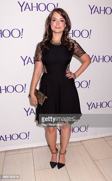 Actress Milana Vayntrub arriving at Paul Feig's new show launch party for Other Space at The London on April 14 2015 in West Hollywood California