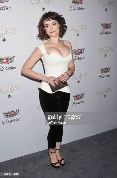 Actress Milana Vayntrub attends Cadillac's 89th annual Academy Awards celebration at Chateau Marmont on February 23 2017 in Los Angeles California
