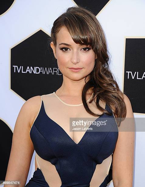 Actress Milana Vayntrub attends the 2015 TV LAND Awards at Saban Theatre on April 11 2015 in Beverly Hills California