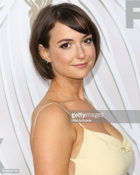 Actress Milana Vayntrub attends the FOX Broadcasting Company Twentieth Century Fox Television FX and National Geographic 69th primetime Emmy Awards...