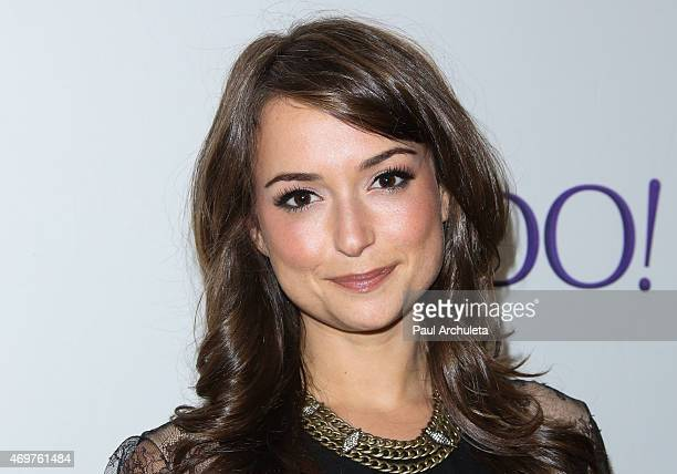 Actress Milana Vayntrub attends the launch party for Paul Feig's new show Other Space at The London on April 14 2015 in West Hollywood California