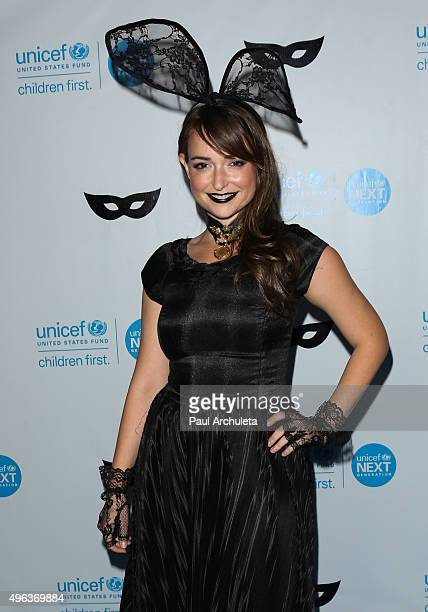 Actress Milana Vayntrub attends the UNICEF Black White Masquerade Ball at The Masonic Lodge at Hollywood Forever on October 30 2015 in Los Angeles...