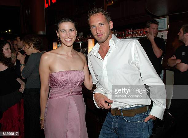 Actress Milena Govich and actor Josh Lucas attend a party for Trumbo hosted by The Cinema Society and the ACLU at the Tribeca Cinemas in New York
