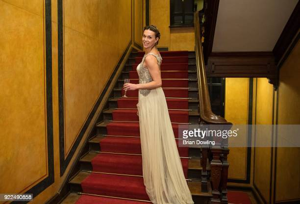 Actress Milena Mancini in a Blumarine gown poses during the 'Boys Cry' portrait session during the 68th Berlinale International Film Festival Berlin...