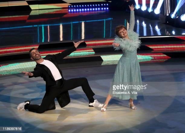 Actress Milena Vukotic and her dance partner Simone Di Pasquale perform on the tv show Ballando Con Le Stelle at RAI Auditorium on March 30 2019 in...