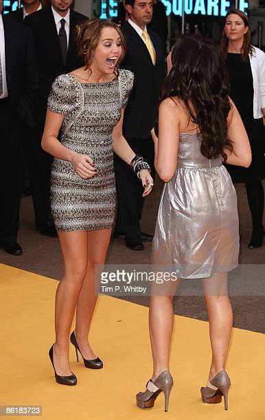 Actress Miley Cyrus and Demi Lovato arrives at the UK film premiere of 'Hannah Montana The Movie' held at the Odeon Leicester Square on April 23 2009...