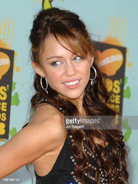 Actress Miley Cyrus arrives at Nickelodeon's 2008 Kids' Choice Awards at the Pauley Pavilion on March 29 2008 in Los Angeles California