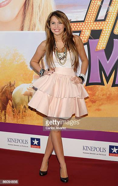 Actress Miley Cyrus attends Hannah MontanaThe Movie premiere at the Kinepolis cinema on April 21 2009 in Madrid Spain