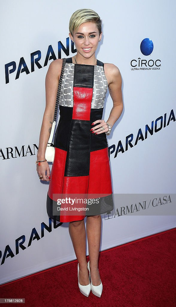 Actress Miley Cyrus attends the premiere of Relativity Media's 'Paranoia' at the DGA Theater on August 8, 2013 in Los Angeles, California.