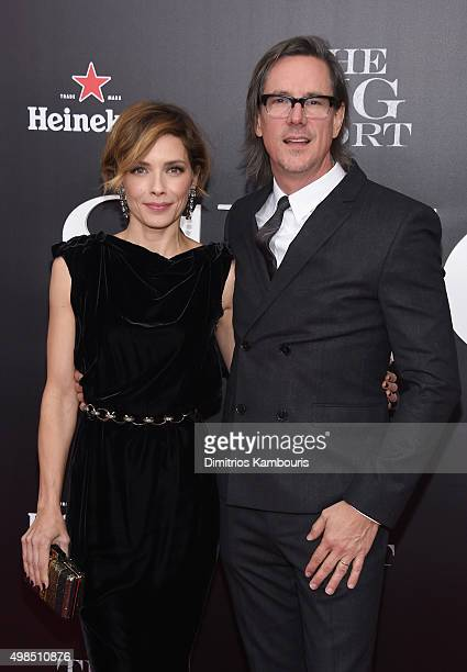 Actress Mili Avital and screenwriter Charles Randolph attend the premiere of The Big Short at Ziegfeld Theatre on November 23 2015 in New York City