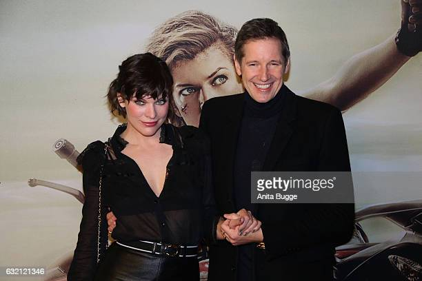 Actress Milla Jovovich and director Paul W S Anderson attend the 'Resident Evil The Final Chapter' Berlin premiere at CineStar on January 19 2017 in...