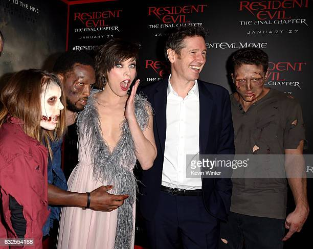 Actress Milla Jovovich and writer/director Paul WS Anderson arrive at the premiere of Sony Pictures Releasing's Resident Evil The Final Chapter at...
