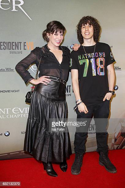 US actress Milla Jovovich and Youtube star Jay attend the Social Movie Night At 'Resident Evil The Final Chapter' premiere at CineStar on January 19...