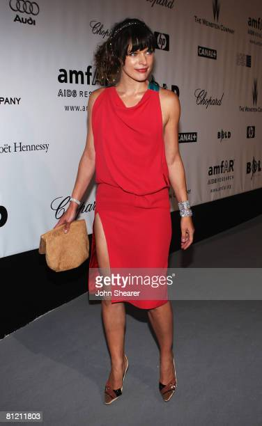 Actress Milla Jovovich arrives at amfAR's Cinema Against AIDS 2008 benefit held at Le Moulin de Mougins during the 61st International Cannes Film...